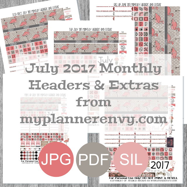 Free Printable July 2017 Monthly Headers and Extras from myplannerenvy.com