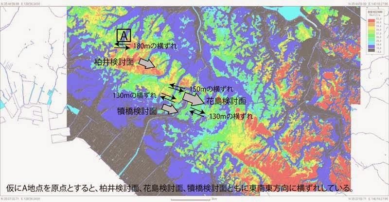 058 横ずれ圧縮応力場 - 花見川流域の小崖地形