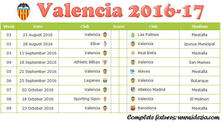 Download Jadwal Valencia CF 2016-2017 File PDF - Download Kalender Lengkap Pertandingan Valencia CF 2016-2017 File PDF - Download Valencia CF Schedule Full Fixture File PDF - Schedule with Score Coloumn