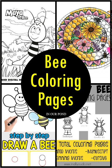 A Celebration of Bees- Ideas and Printables for Kids // In Our Pond // Coloring Pages // free printables
