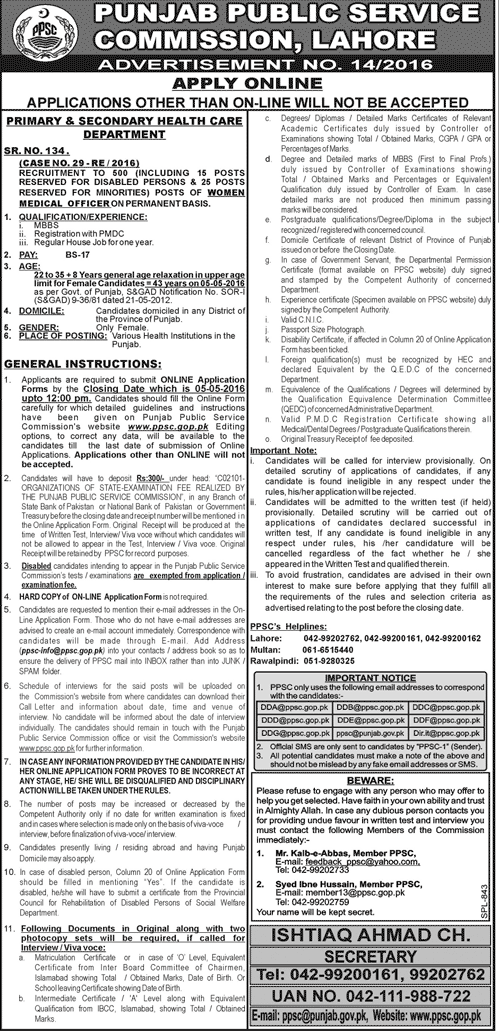 Government Jobs of Women Medical Officer in PPSC Punjab