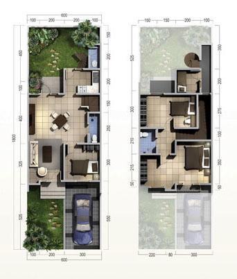 Denah rumah minimalis ukuran 6x18 meter 4 kamar tidur 2 lantai