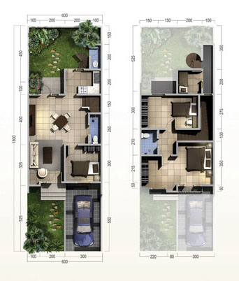 gaya terbaru 40 denah rumah ukuran 5x10 1 lantai paling