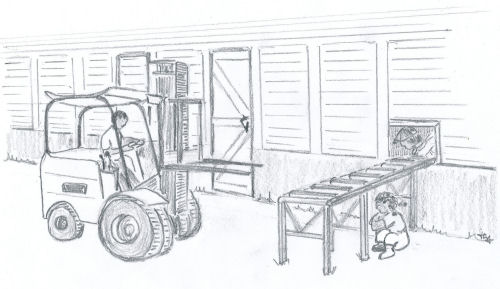 drawing of a boy driving a forklift for the children's book The ABZ Affair