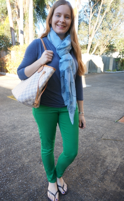 blue wrap top, family tree print scarf with green skinny jeans LV neverfull tote | awayfromblue