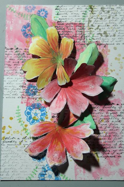 Primrose Watercolor Card #clubscrap #paperflowers #watercolor #Distressoxides #Distressinks