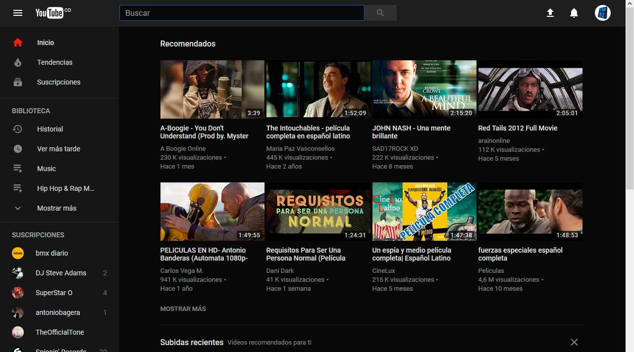 Tema oscuro en Youtube
