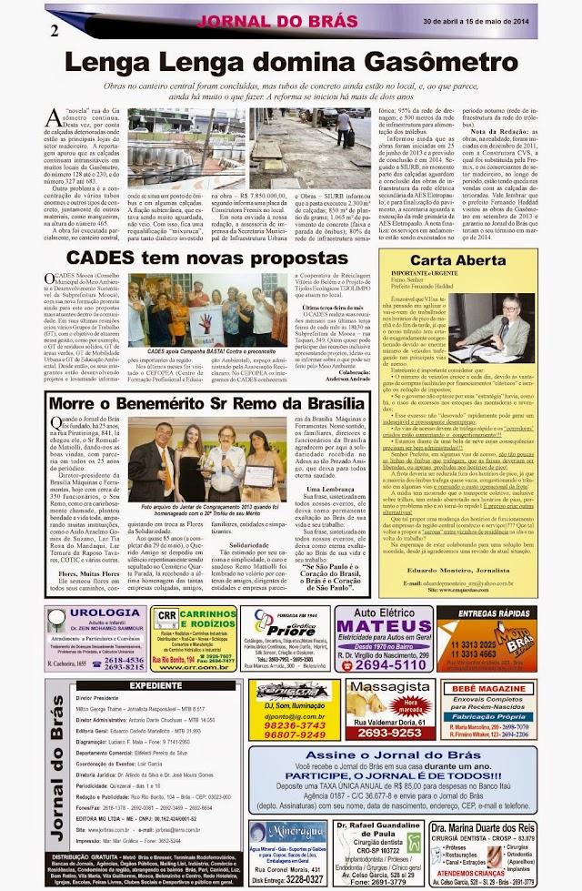 Destaques da Ed. 248 - Jornal do Brás