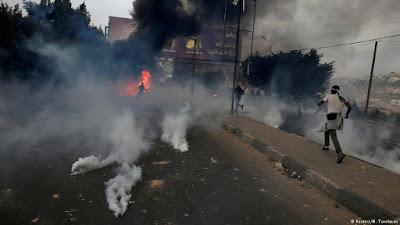 Ramallah ve Batı Şeria'daki gösterilerden bir kare