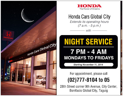 Honda Cars Global City Night Service Program