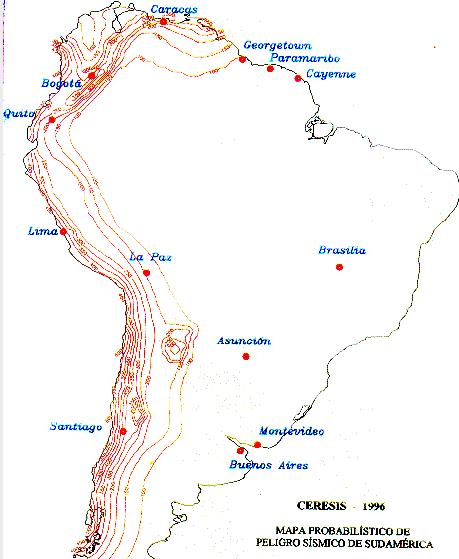 Mapa de riesgos de Sur América.