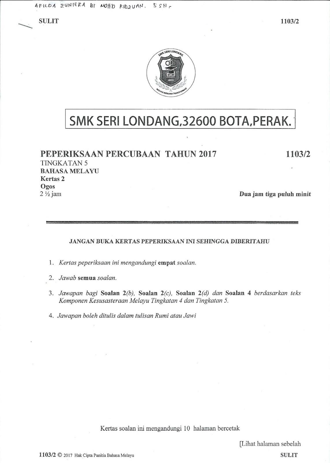 Contoh Soalan Rumusan Bahasa Melayu Tingkatan 1 Terengganu Z