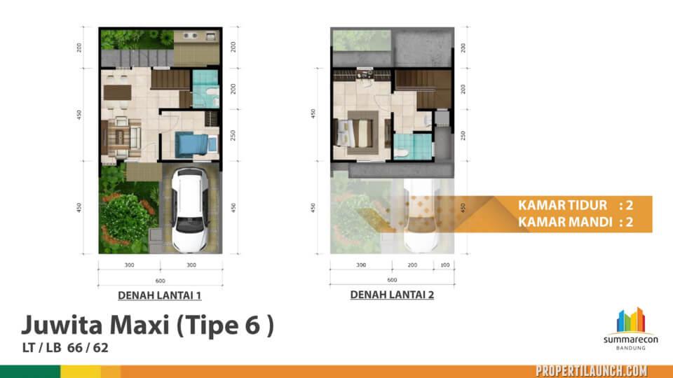 Denah Rumah Cluster Dayana Tipe 6 (Juwita Maxi)