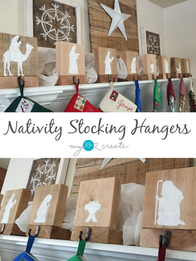 Build your own easy DIY Nativity Stocking Hangers, free plans and tutorial at  MyLove2Create.