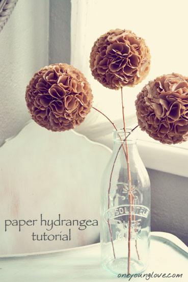 initiales gg  : diy : des fleurs d'hortensia en papier