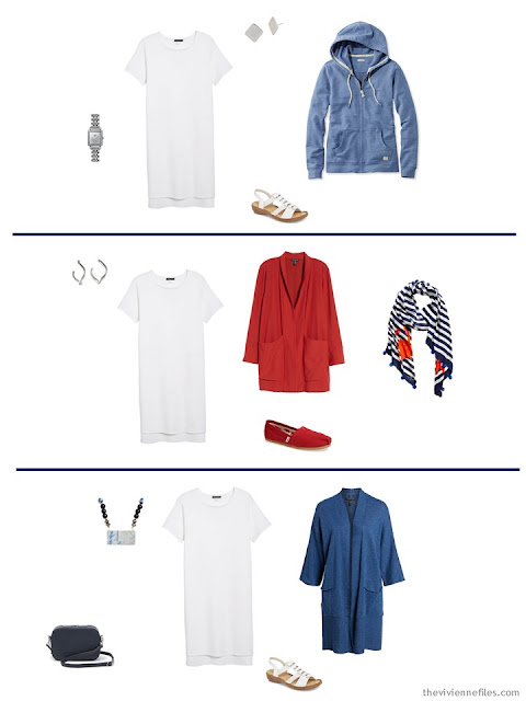 3 ways to wear a white dress from a Tote Bag Travel capsule wardrobe