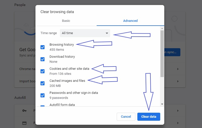 chrome clear cache, cookies and history window