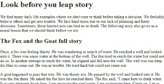 The fox and the grapes English Moral story for 1st year