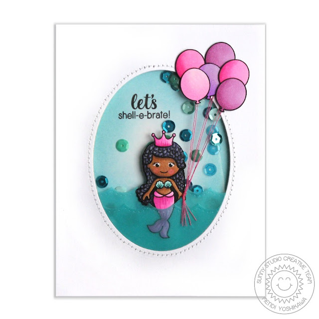 Sunny Studio Stamps Magical Mermaids Let's Shell-e-brate Birthday Shaker Card by Mendi Yoshikawa