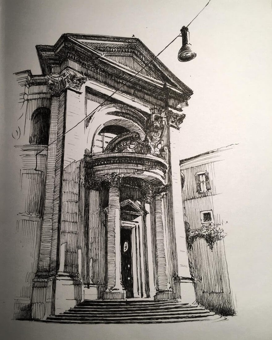 04-Bernini-in-sunshine-Rome-Mark-Poulier-Drawing-Urban-Architecture-on-a-Sketchbook-www-designstack-co