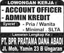 Iklan Baris Lowongan Kerja Suara Merdeka 09 Juli 2016 BPR Pratama Dana Abadi