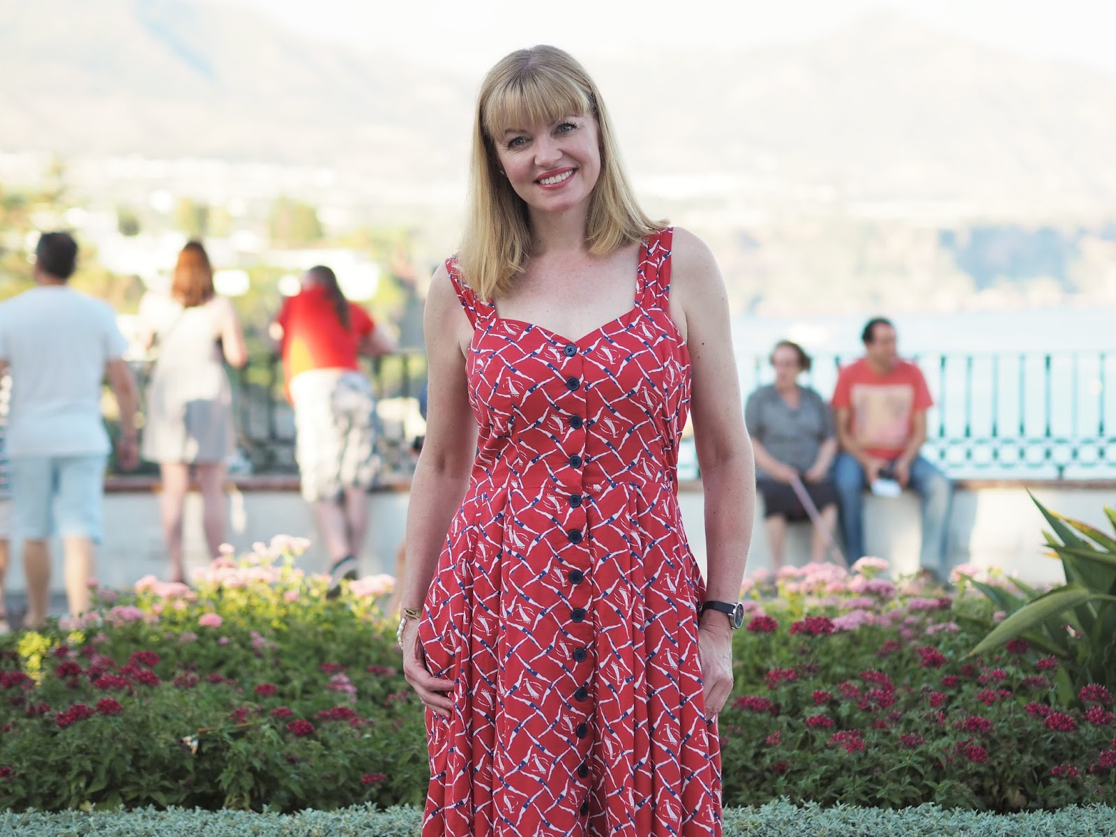 Red fifties style sundress with swimmers print, Nerja