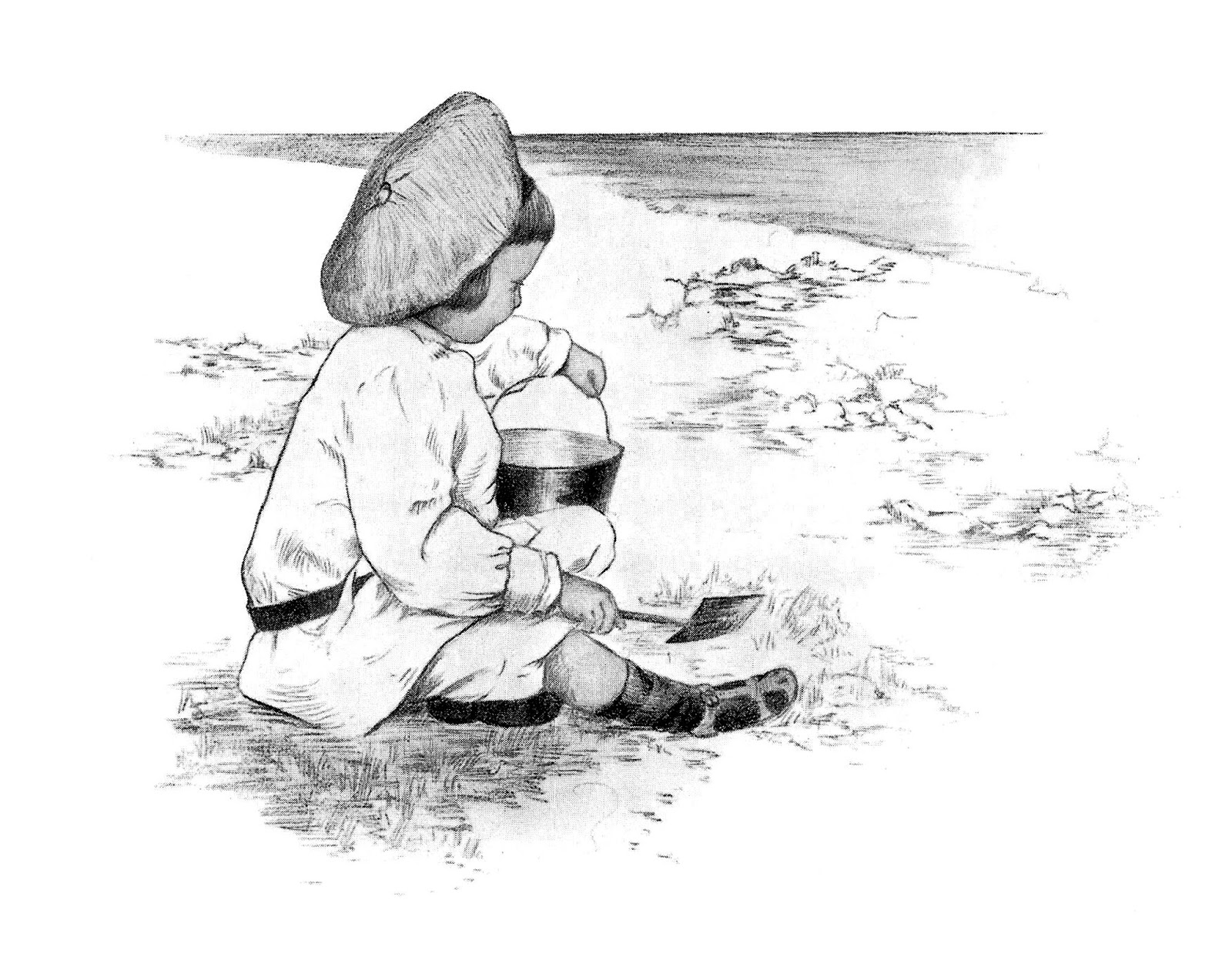 Child beach toy artwork drawing illustration digital download