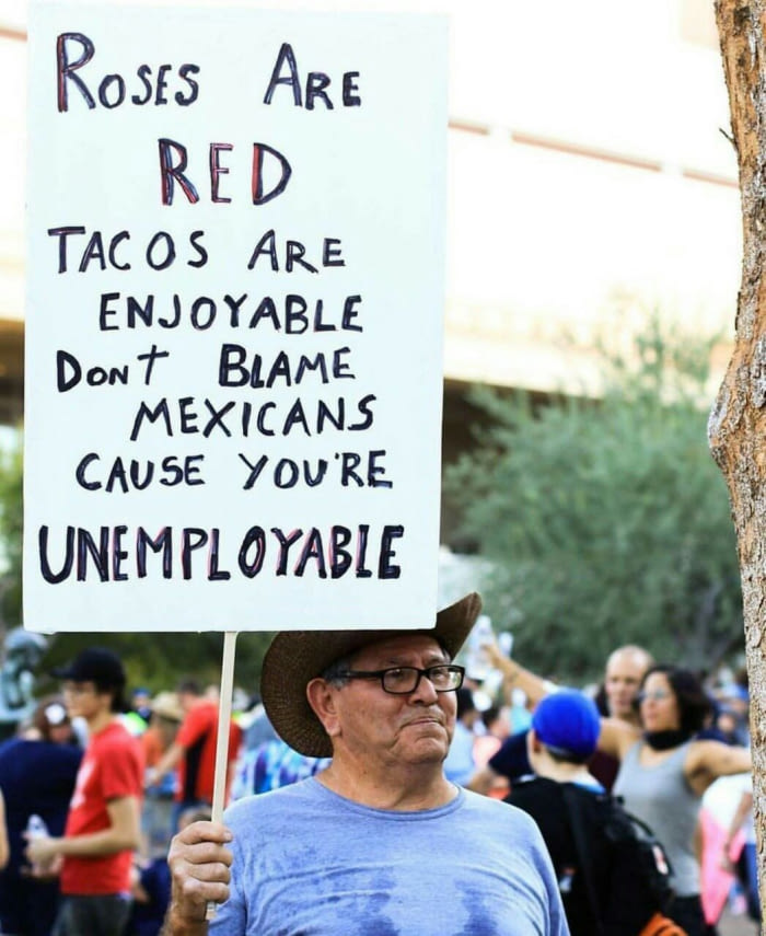 Roses are red tacos are enjoyable dont blame mexicans cause youre unemployable