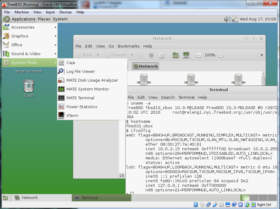 Setting up the MATE desktop environment on the FreeBSD VM