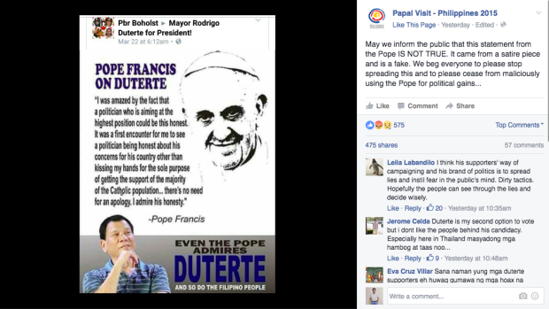 CBCP denies that the Pope is endorsing Duterte! MUST READ!