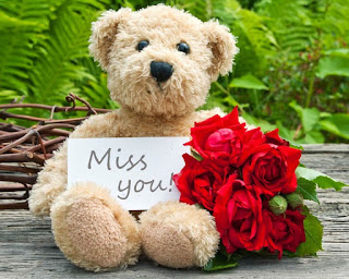 image of miss you with teddy bear holding bunch of red roses