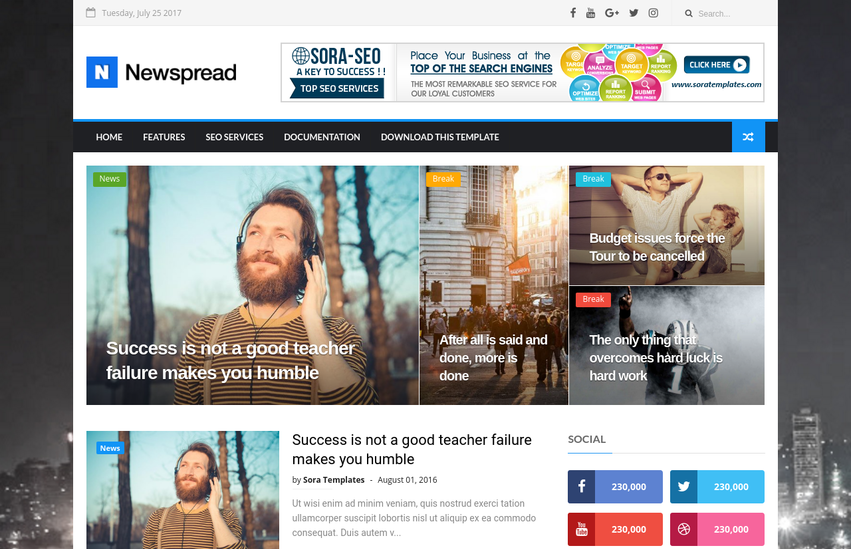 New Spread Blogger Template