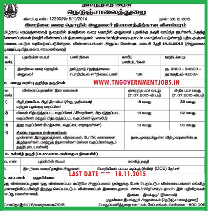 Applications are invited for 188 Junior Draughting Officer in Tamil Nadu Government Highways Department Chennai