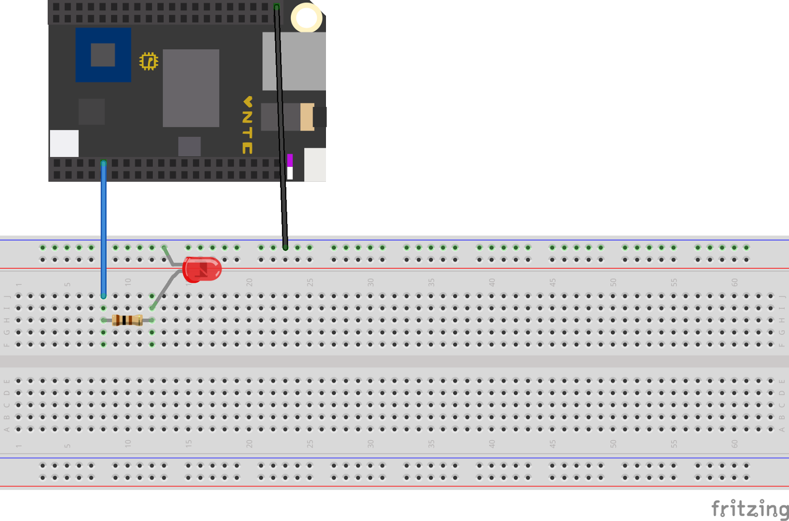 My Adventure In Robotics Swift On The Next Thing Chip Single Led Flasher Circuit We Have A Connected To Csid0 Pin Via 100 Ohm Resistor
