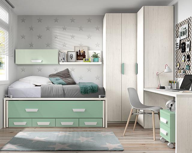 Dormitorio juvenil bicama 1848 for Habitaciones juveniles dobles