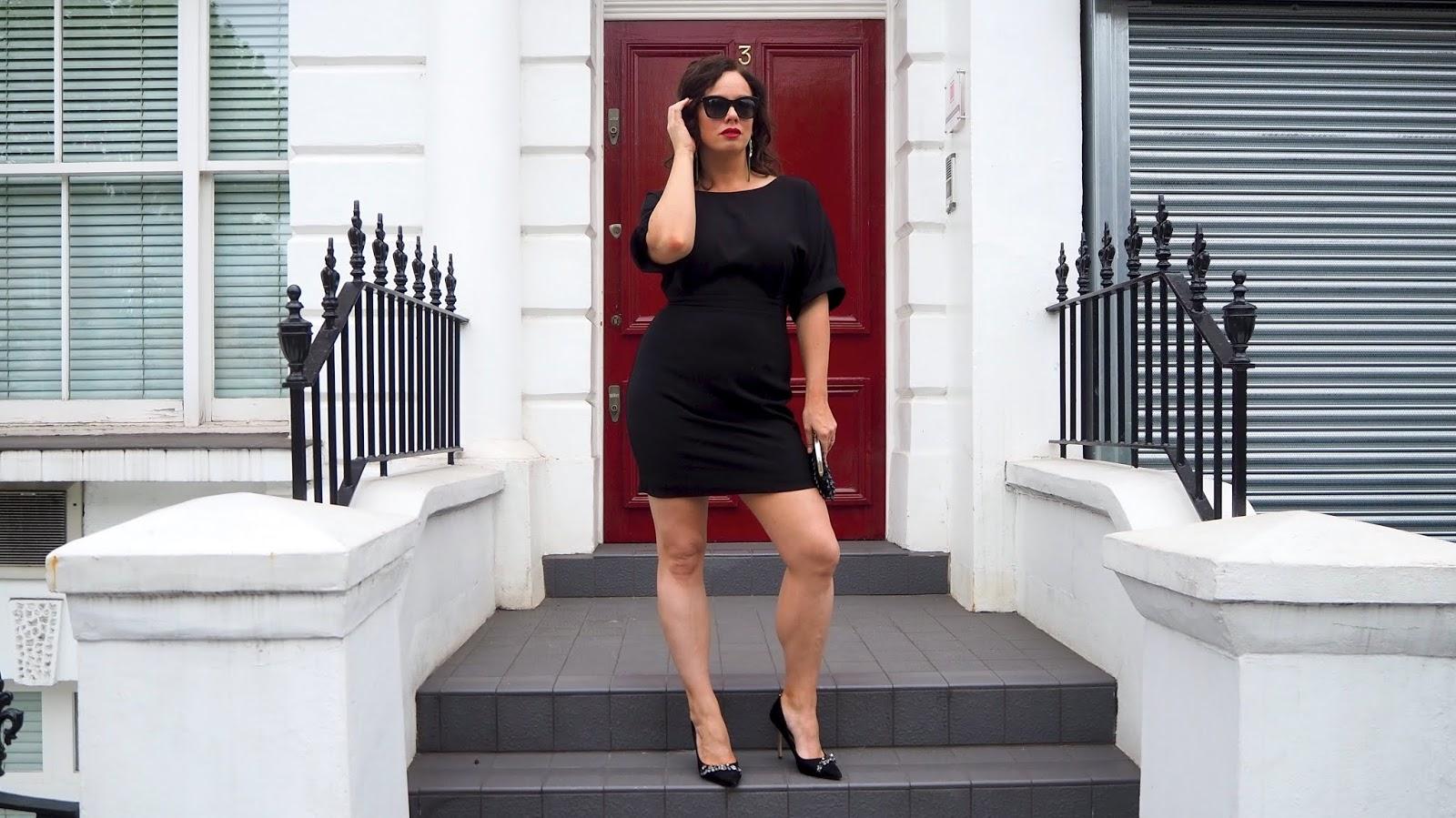 ASOS BLACK DRESS, Black heels and beaded black clutch