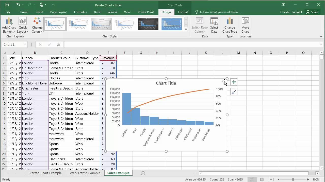 Creating Pareto Charts in Excel 2016