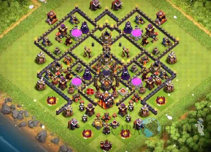 Base Farming TH 9 COC Update Bomb Tower Terbaru 2017 Tipe 21