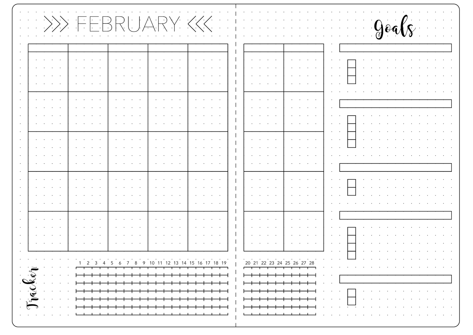 Bullet Journal February Set Up Template