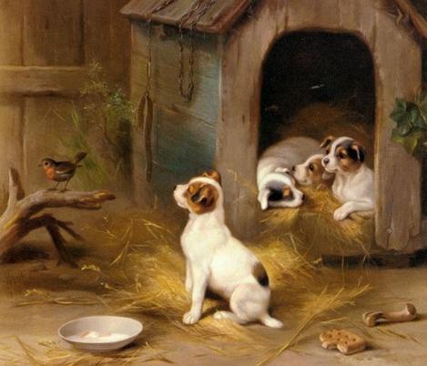 Yavru köpekler yağlı boya tablosu