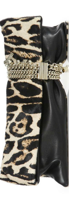 Jimmy Choo Chandra Leopard-Print Calf Hair & Leather Clutch