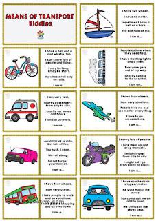 Adivinanzas en inglés de los medios de transporte y dominó para tercer ciclo de primaria