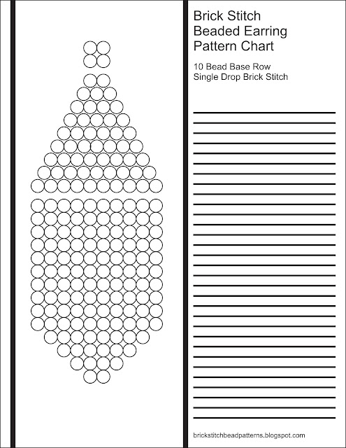Free printable blank brick stitch beaded earring pattern chart.