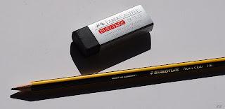 Radiergummi und Bleistift