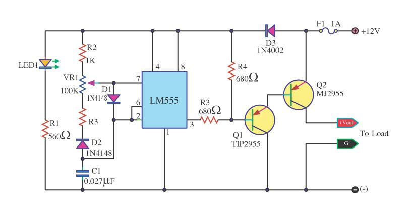 Lamp Dimmer Circuit With LM555 And