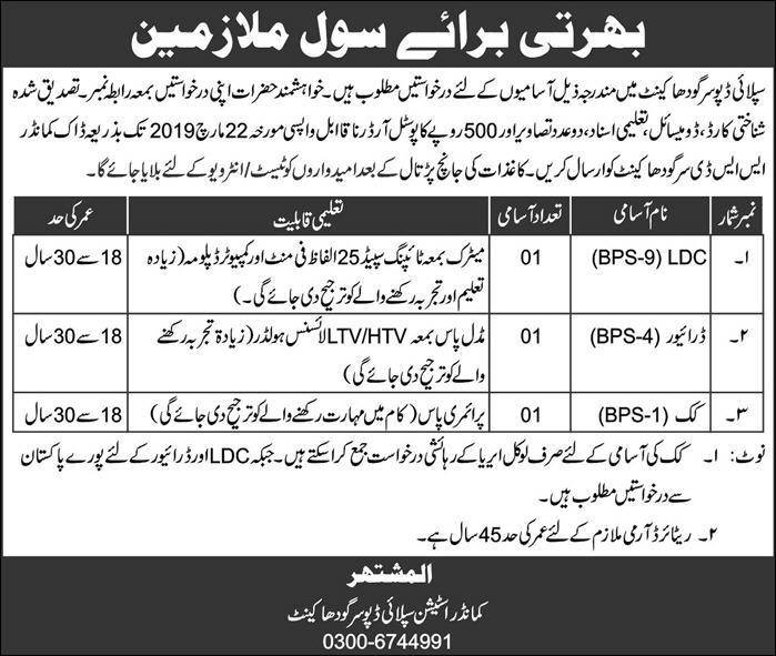 Jobs in Supply Deport Sargodha Cantt Jobs March 2019