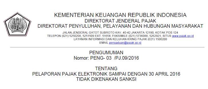 Lapor Pajak Online Diperpanjang Hingga 30 April 2016 & Tidak Dikenakan Denda