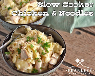 Easy Weekly Meal Plan #6 from My Fearless Kitchen. This week's meal plan includes Slow Cooker Chicken & Noodles, Classic Coq Au Vin for Two, Ground Beef Soup, Chicken Pot Pie, Chicken Caesar Pasta Salad, and Raspberry Meringue Hearts.