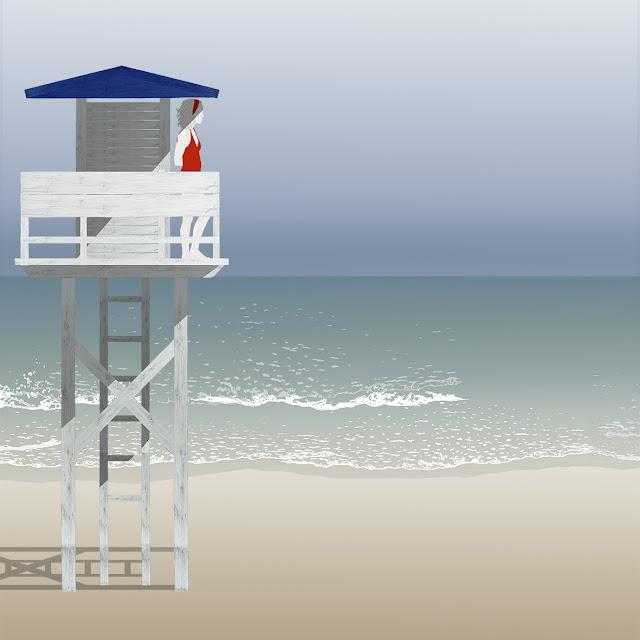 playa , vigilante  , dibujo