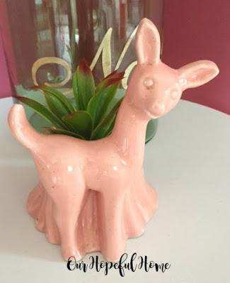 pink ceramic deer planter succulent container